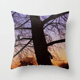 Bird watching the sunset Throw Pillow