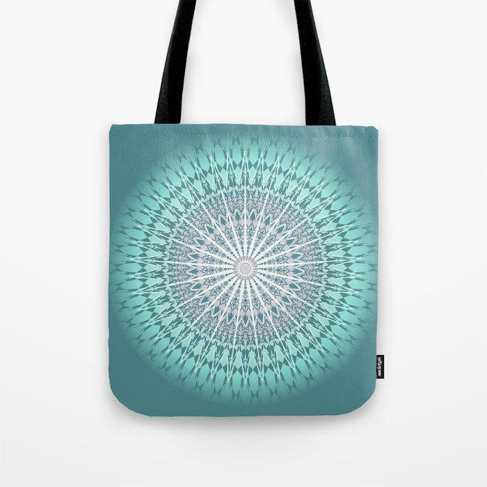 Teal Mandala Medallion Tote Bag