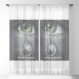 Climate Change Action - Our House is on Fire Greta Thunberg quote Sheer Curtain