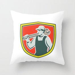 Mechanic Worker Holding Spanner Shield Retro Throw Pillow
