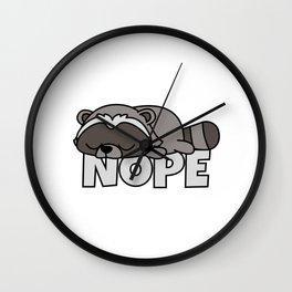 Nope Funny Racoon Raccoon Wall Clock