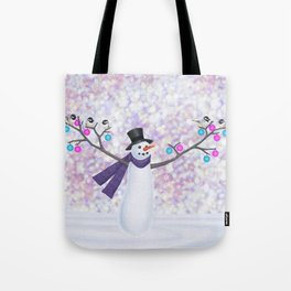 snowman, chickadees, and ornaments Tote Bag