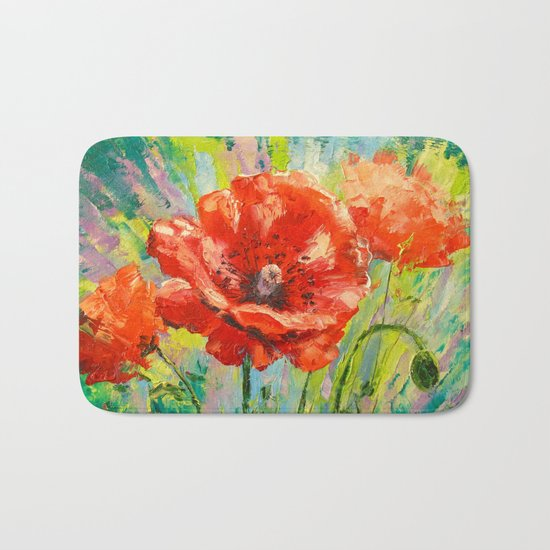 Blooming poppy Bath Mat