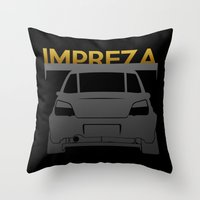 subaru Throw Pillows featuring Subaru Impreza by Vehicle