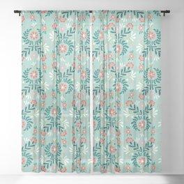 Floral Folk Pattern Sheer Curtain