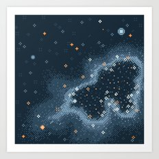 Grey Rift Galaxy (8bit) Art Print
