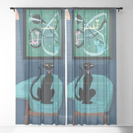 Creature Comforts Mid-Century Interior With Black Cat Sheer Curtain