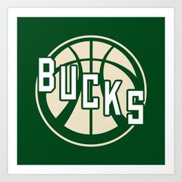 Bucks basketball vintage green logo Art Print