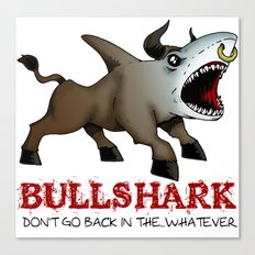 Bullshark Color Bull Shark Jaws by RonkyTonk Canvas Print