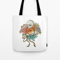 kitsune Tote Bags featuring Kitsune by Total-Cult