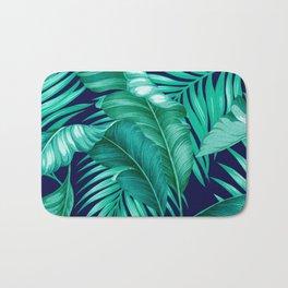 HAWAIIAN GARDEN TROPICAL LEAVES | turquoise navy Bath Mat