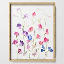 colorful sweet peas flower watercolor Serving Tray