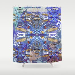 Tribal abstract blue Shower Curtain