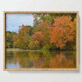 Autumn Tree Line Rustic / Rural Landscape Photograph Serving Tray