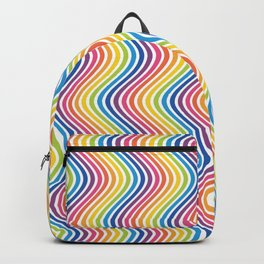 RAINBOW WAVY LINES Abstract Art Backpack