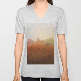 Madison, Wisconson Skyline - In the Clouds Unisex V-Neck
