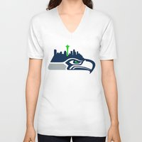 seahawks V-neck T-shirts featuring Seattle Seahawks Skyline by Ainslie Kellas