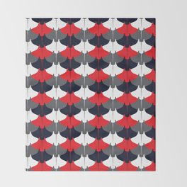 Manta Ray Pattern (Blue and Red) Throw Blanket