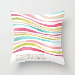 Colorful Watercolor Waves Explore Throw Pillow