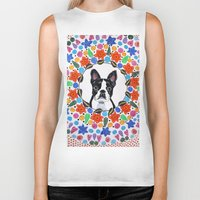 boston terrier Biker Tanks featuring Boston Terrier  by Lorraine Stylianou