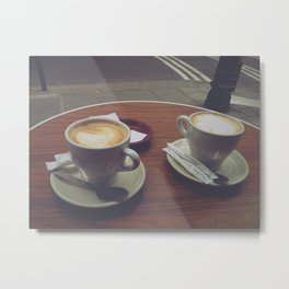 Parisian Coffee Date, Lattes for Two Metal Print