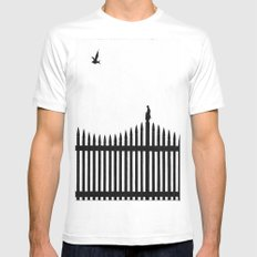 Bird on a fence White MEDIUM Mens Fitted Tee