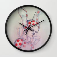 card Wall Clocks featuring The card of hearts by Zinaarts