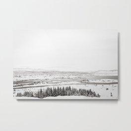 Thingvellir National Park-White Winter Metal Print