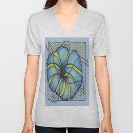 Blue and Yellow Zentangle Flower Unisex V-Neck