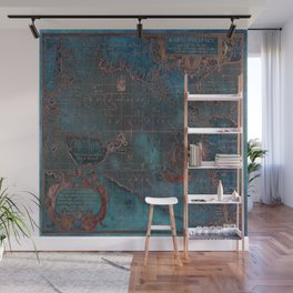 Antique Map Teal Blue and Copper Wall Mural