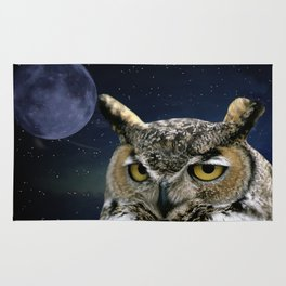 Owl and Blue Moon Rug