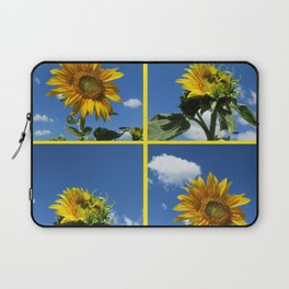 big sunflower shines yellow against a blue sky with white clouds Laptop Sleeve