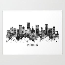 Incheon South Korea Skyline BW Art Print