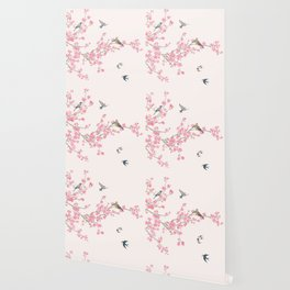 Birds and cherry blossoms Wallpaper