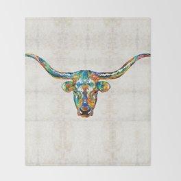 Colorful Longhorn Art By Sharon Cummings Throw Blanket