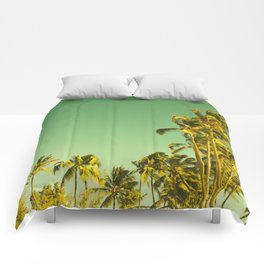 palm love in tropical green gold jewel tones Comforters