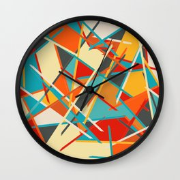 Abstract Mid-Century Modern Lines and Colors Wall Clock