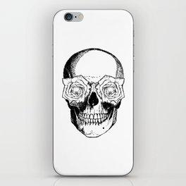 Skull and Roses   Skull and Flowers   Vintage Skull   Black and White   iPhone Skin