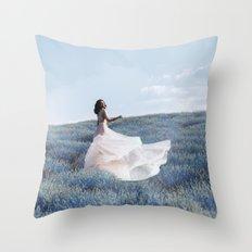 Blue field Throw Pillow