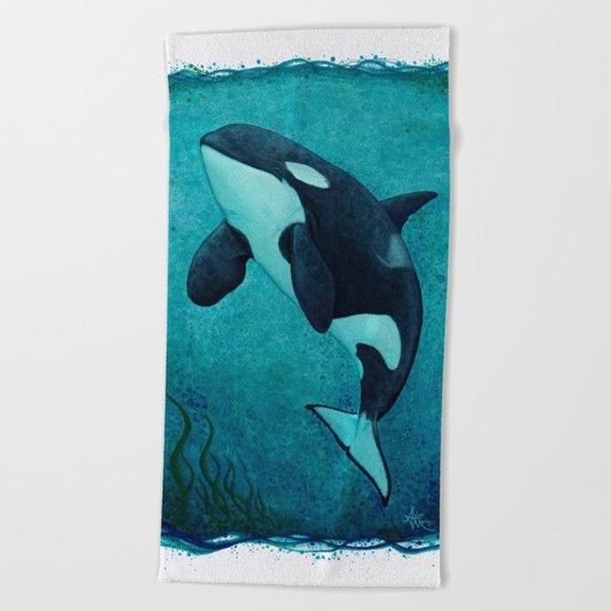 """The Matriarch"" Killer Whale ~ Orca ~ J2 Granny ~ Watercolor Beach Towel"