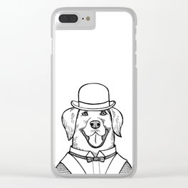 Portrait of a Labrador retriever with a bowler hat Clear iPhone Case