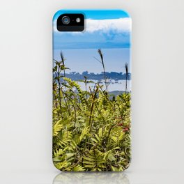 Looking Through Tall Grass and Wildflowers at the Lake on top of Mombacho Volcano, Nicaragua iPhone Case