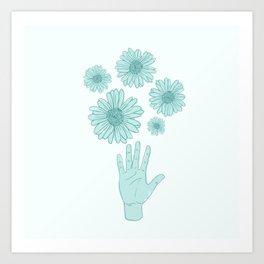 Flower and Hands Art Print