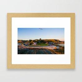 kaikoura warf sunrise mountains colors new zealand bird Framed Art Print