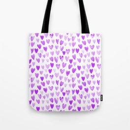 Watercolor Hearts purple pantone love pattern design minimal modern valentines day Tote Bag