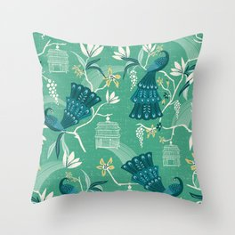 Aviary - Green Throw Pillow