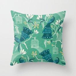 Aviary - Green Throw Pillow
