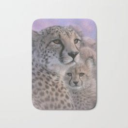 Cheetah Mother and Cubs - Mothers Love Bath Mat
