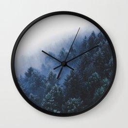 Foggy Blue Purple Mountain hill Pine Trees Landscape Nature Photography Minimalist Modern Art Wall Clock
