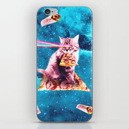 Space Cat Eating Pizza - Rainbow Laser Eyes, Burrito iPhone Skin